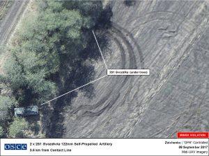ОБСЄ в своєму звіті показало наявність ворожої артилерії у 4 км від лінії зіткнення