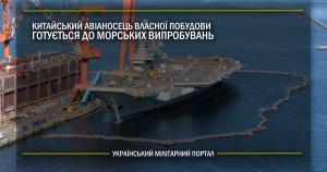 Китайський авіаносець власної побудови готується до морських випробувань