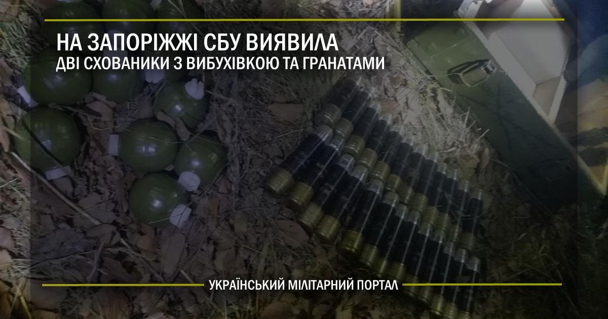 На Запоріжжі СБУ виявила дві схованки з вибухівкою та гранатами