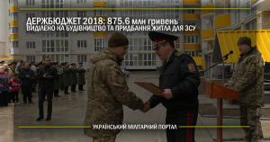 Держбюджет 2018: виділено 875.6 млн гривень на будівництво та придбання житла для військових ЗСУ