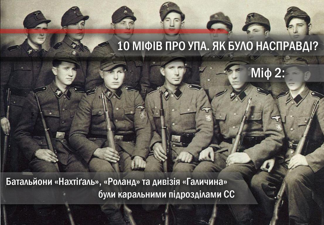 Міф 2. Батальйони «Нахтіґаль», «Роланд» та дивізія «Галичина» були каральними підрозділами СС