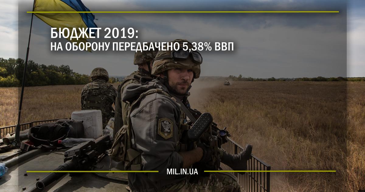Бюджеті 2019 – на оборону передбачено 5,38% ВВП