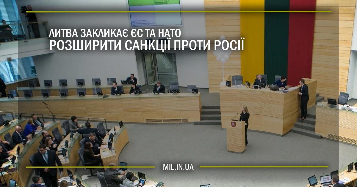 Литва закликає ЄС і НАТО розширити санкції проти Росії