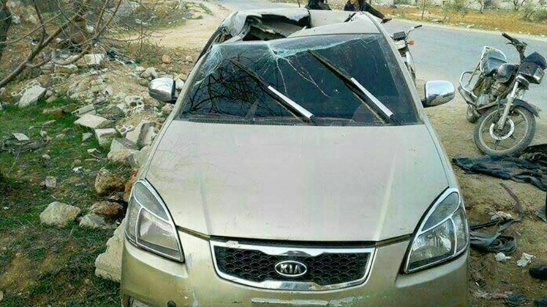 Автомобіль Абу Хайра Аль Масрі після ураження невідомим боєприпасом