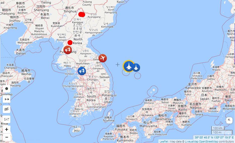 Місце перехоплення російських військових літаків над повітряним простором Південної Кореї