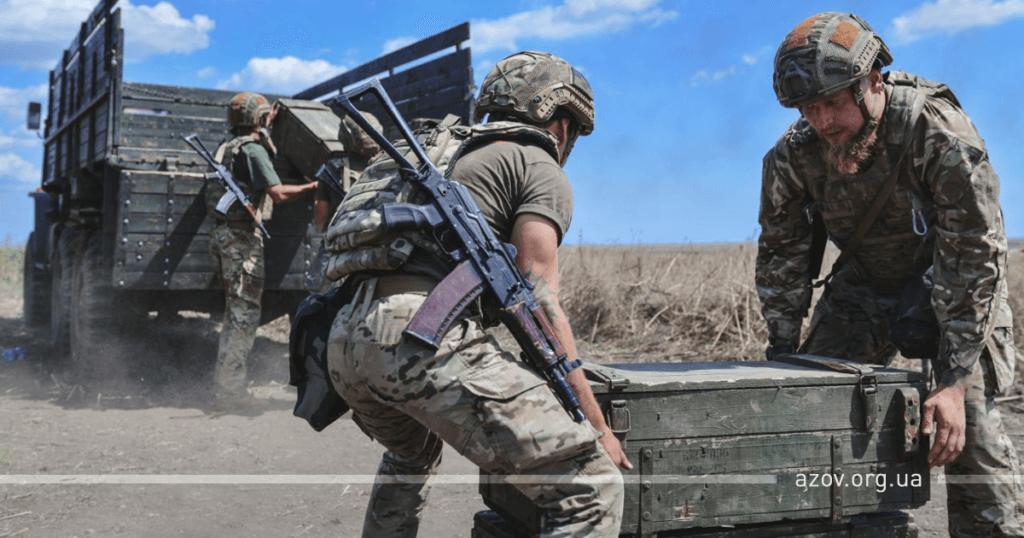"""Бійці ОЗСП """"Азов"""" в ході змагань артилеристів в ООС"""