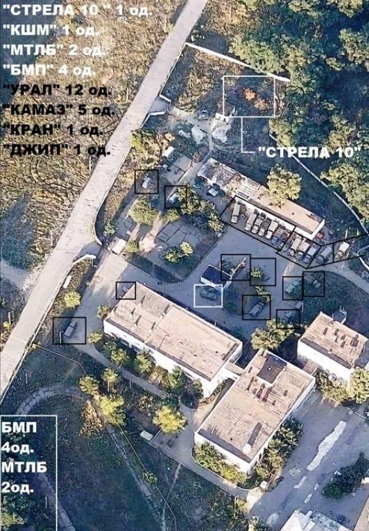 Розташування техніки на базі бойовиків у Первомайську