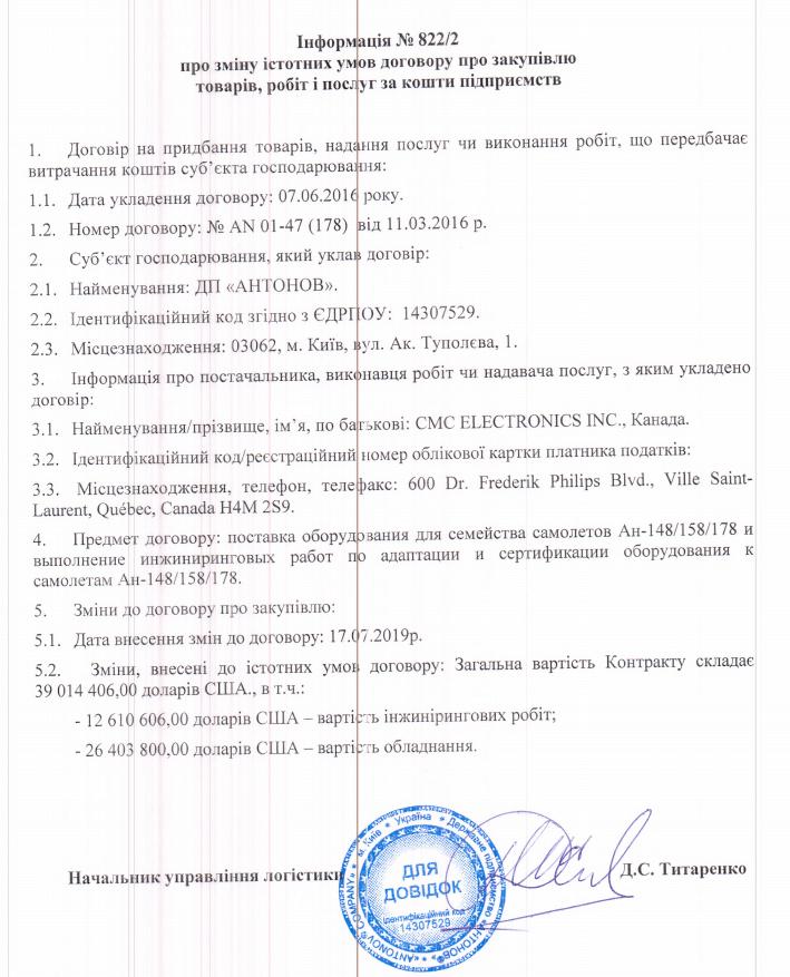 Відновлення контракту на постачання канадського обладнання для Ан-148/158/178