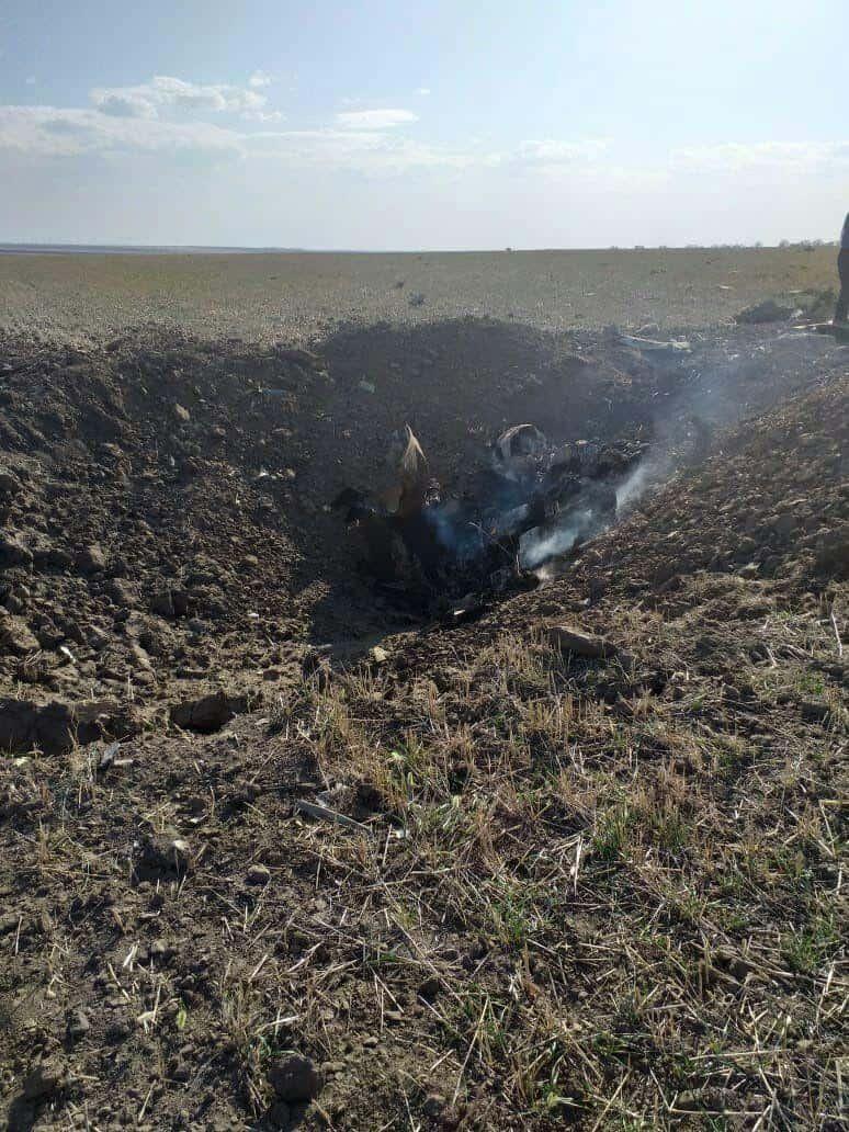 Місце падіння російського Су-25 УБ