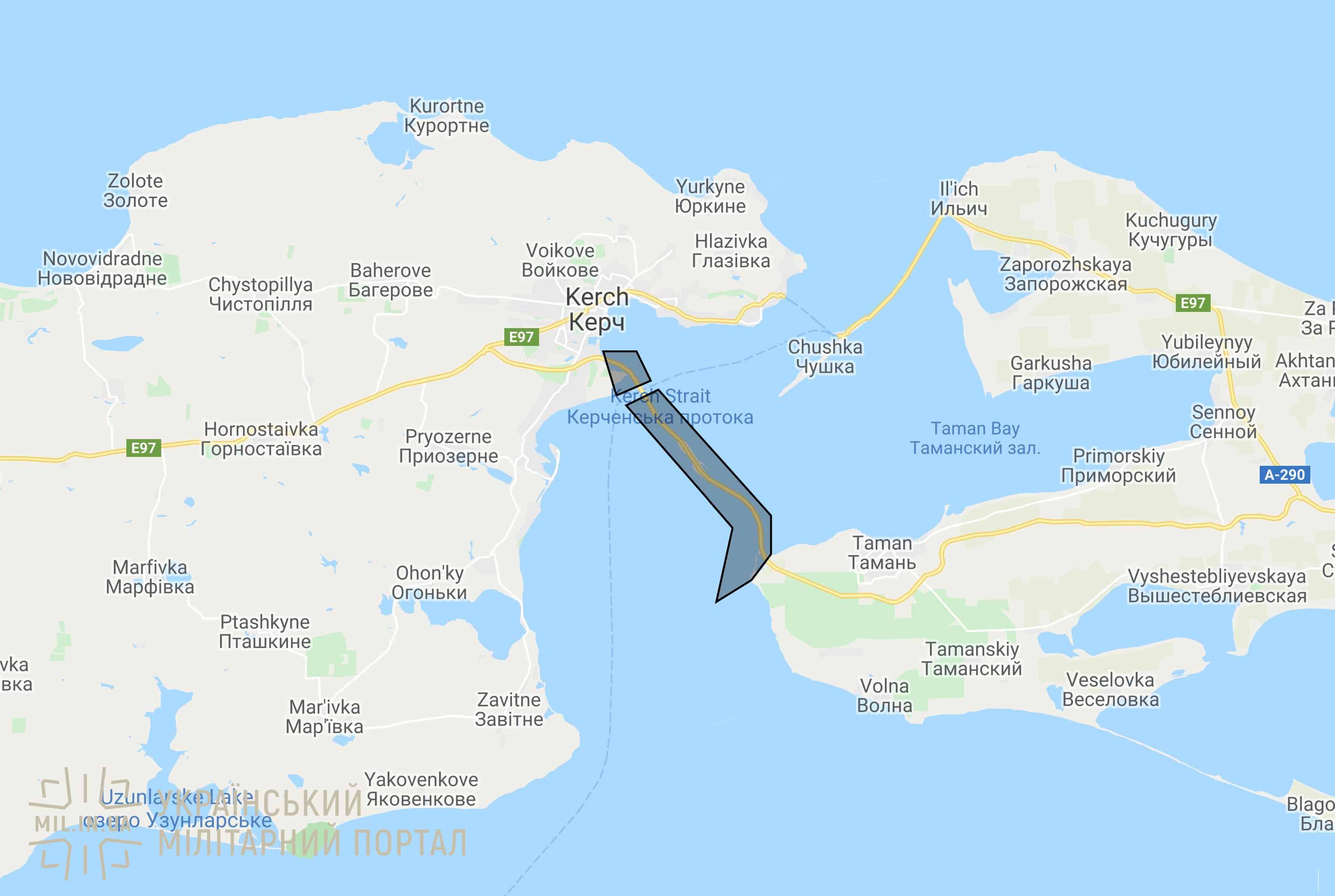 Район із забороненим доступом до Керченського мосту