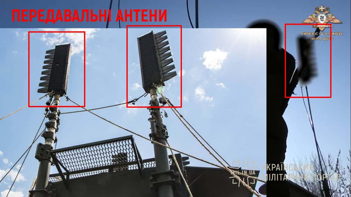 Передавальні антени на електростанції ЭСД-60 комплексу РЕБ Р-330Ж «Житель» та для порівняння на оригінальному носію