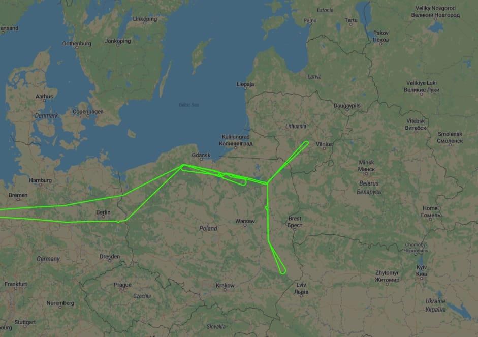 Маршрут польоту літака Boeing RC-135W 6 січня 2020 року