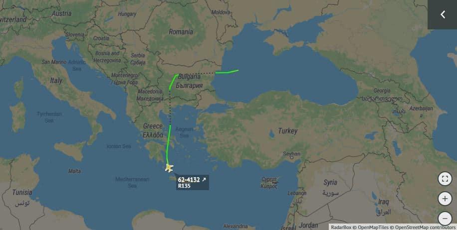 Маршрут польоту літака R-135W 20 січня 2020 року