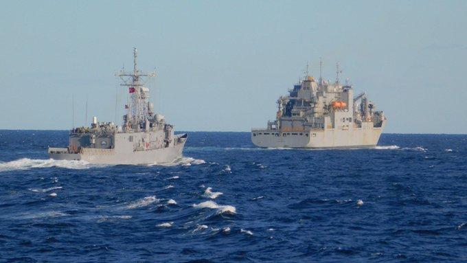 На початку місяця фрегати ВМС Туреччини TCG Göksu та TCG Gökova проводили поповнення в морі кораблем для поповнення ВМС США у Центральному Середземномор'ї US William William McLean🇺🇸.