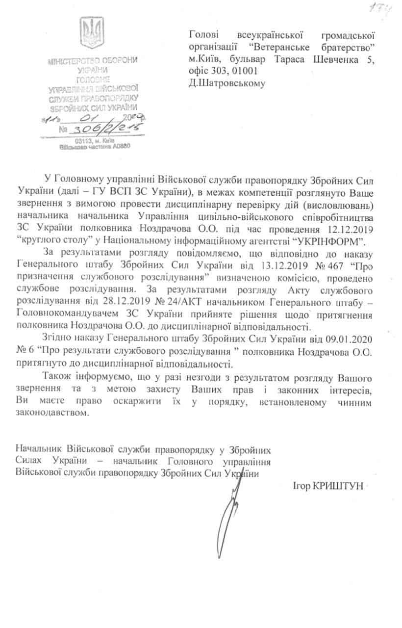 Офіційний лист по дисциплінарній перевірці полковника Ноздрачова