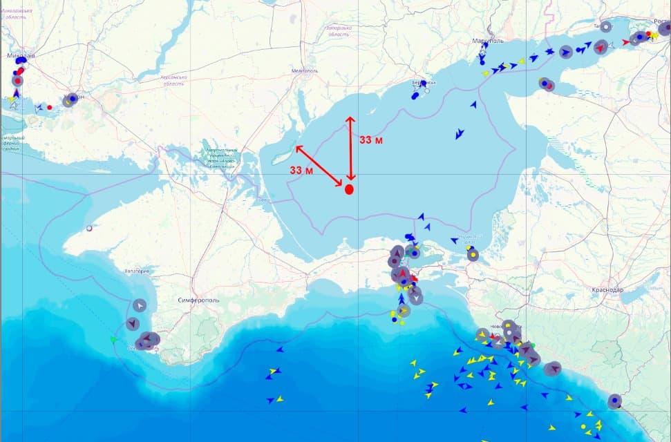 Орієнтовний район затримання українських рибалок в Азовському морі