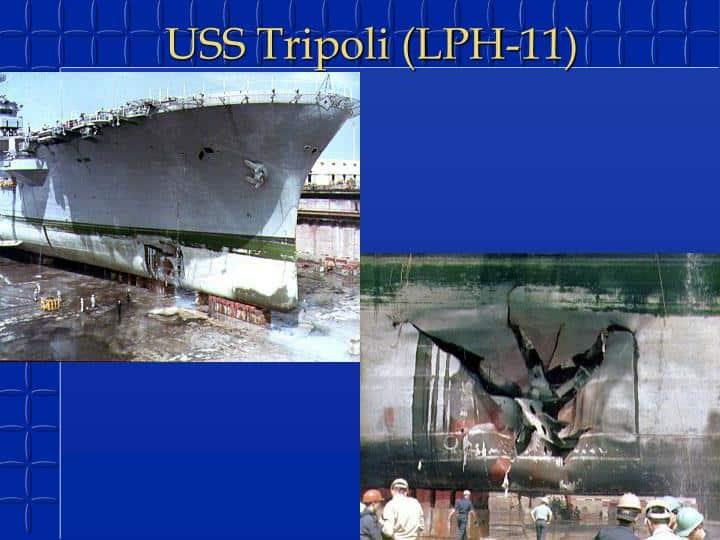 Результат підриву USS Tripoli під час перевезення десантних сил на іраrській якорній міні LUGM-145 з вагою боєголовки в 145 кг