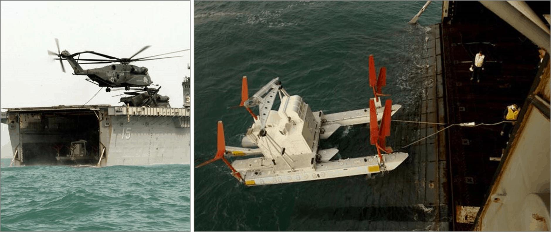 Вертолітний трал на підводних крилах Harris MK-105 в процесі завантаження на вертольотоносець у відкритому морі