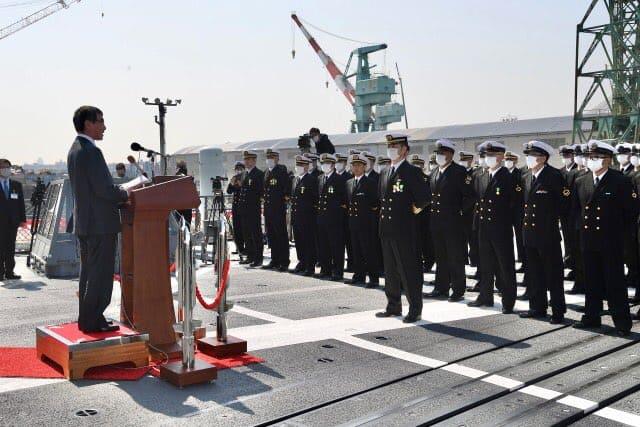 Міністр оборони Японії Таро Коно під час урочистої церемонії. Фото: ЗМІ Японії