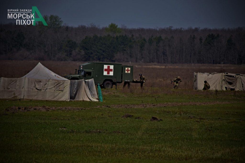Медичний автомобіль на навчаннях морської піхоти ЗСУ. Фото: 36 ОБрМП