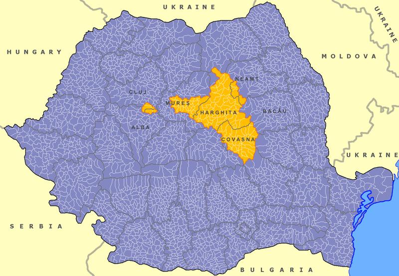 Територія проживання угорців в Румунії