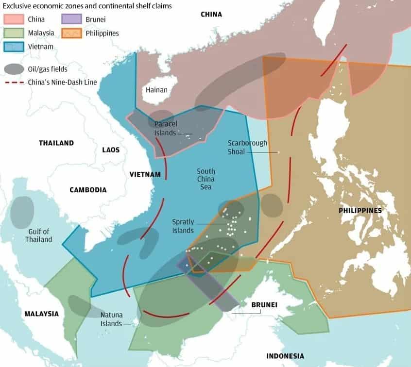 Виключні економічні зони в Південно-Китайському морі та претензії країн одна до одної