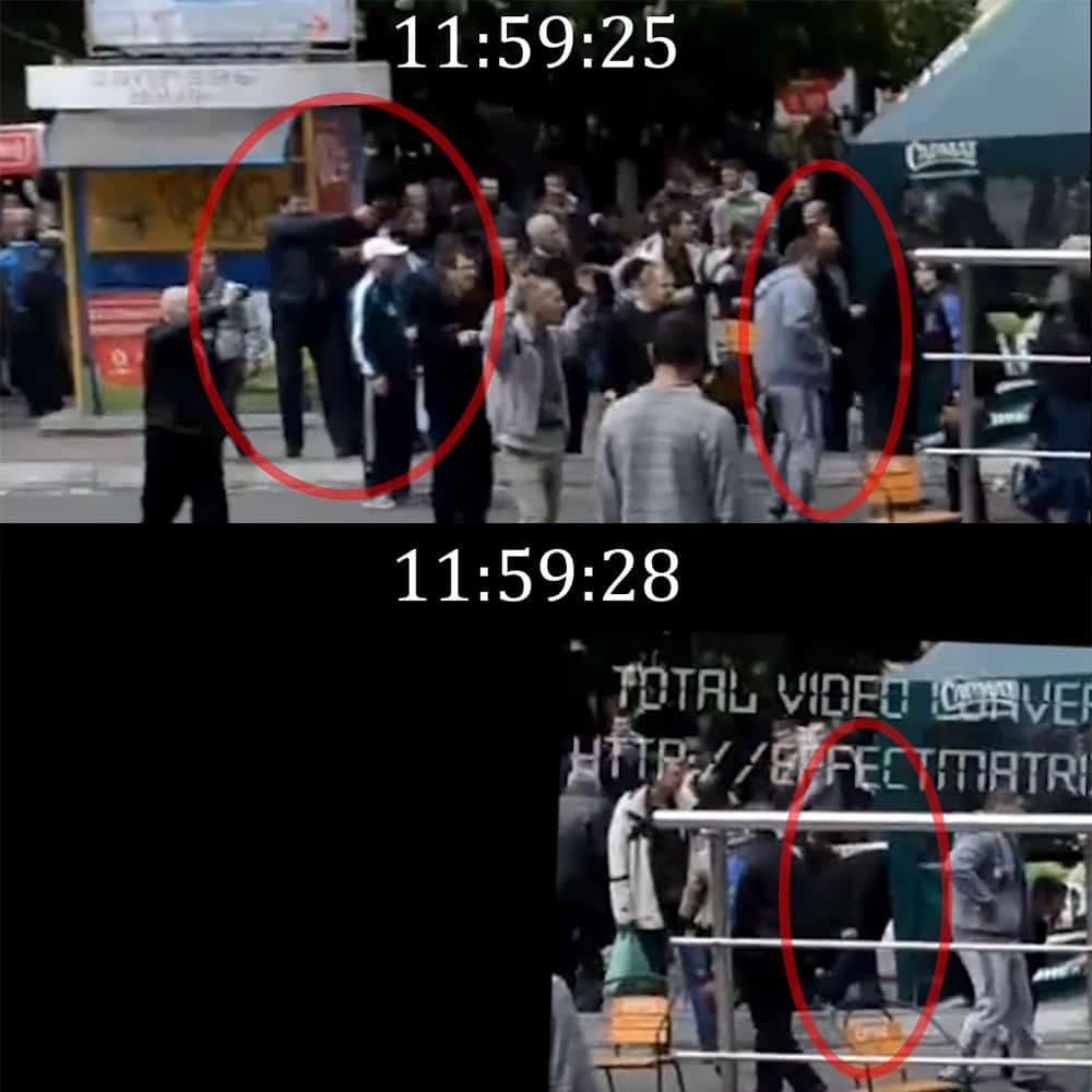 Загибель Колошинського біля кафе Арбат. Зверху: Антимайданівець стріляє з револьвера, Колошинський (в темному одязі) перебуває на лінії вогню. Знизу: Колошинський схилився від влучання в ногу кулі українського солдата за мить до смертельного поранення в голову. © права належать автору оригінального відео; стабілізація: @UkraineAtWar.