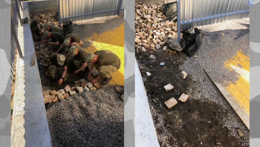Військові України на будівельних роботах. Фото: Бабель