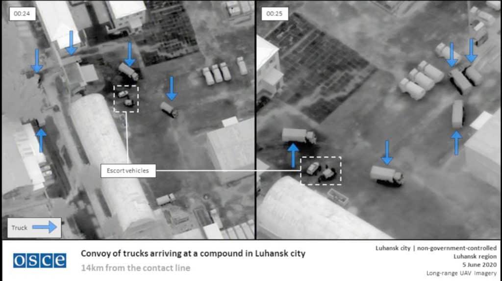 Знімок з БПЛА ОБСЄ. База Росії у Луганську