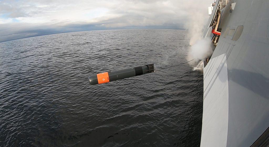 Корвет Швеції типу Visby здійснив запуск торпеди SLWT. Фото: Saab AB