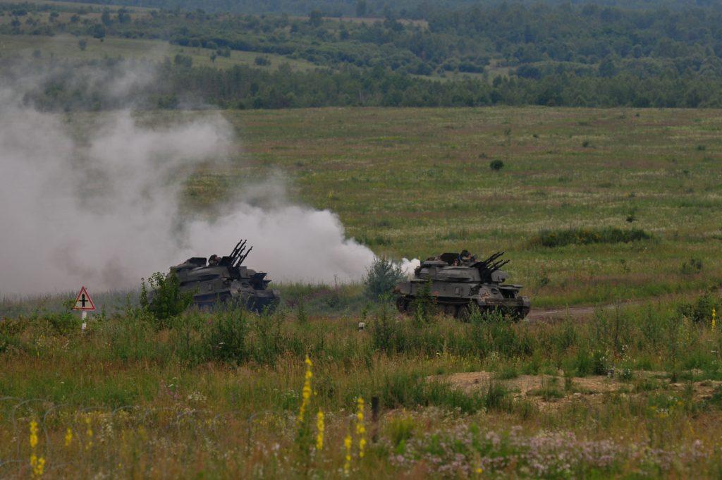Зенітні самохідні установки ЗСУ-23-4 «Шилка» під час маневрів. Фото: Генштаб ЗСУ