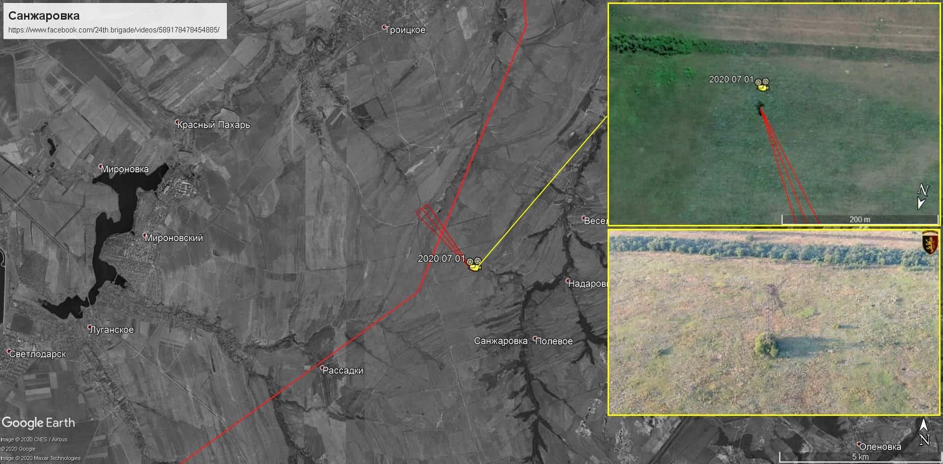 Місце знищення системи відеоспостереження 24 бригадою