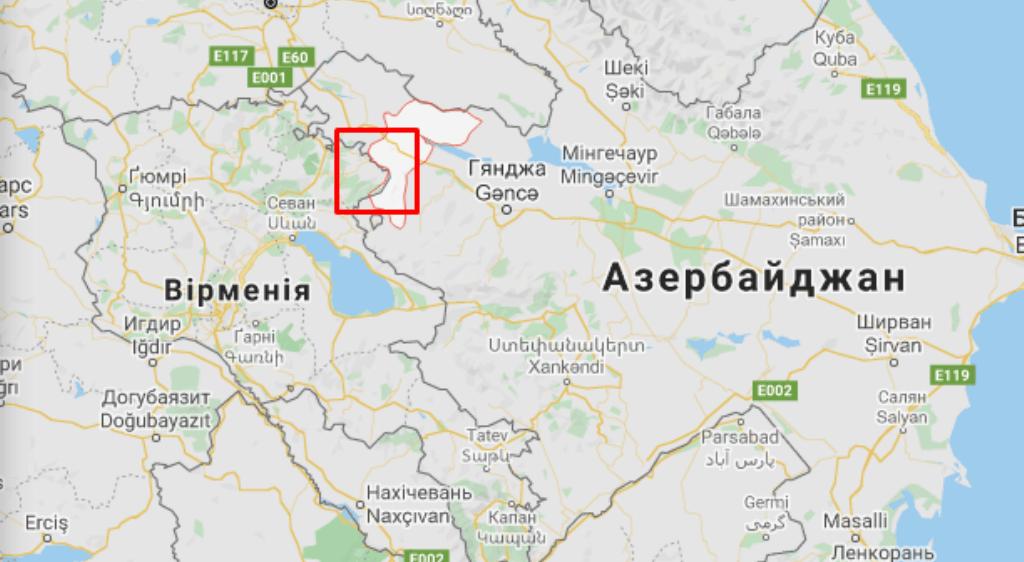 Товузький район на мапі