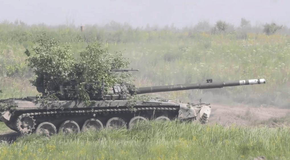 Танк Т-72Б1 під час навчань ЗСУ. Фото: Генштаб