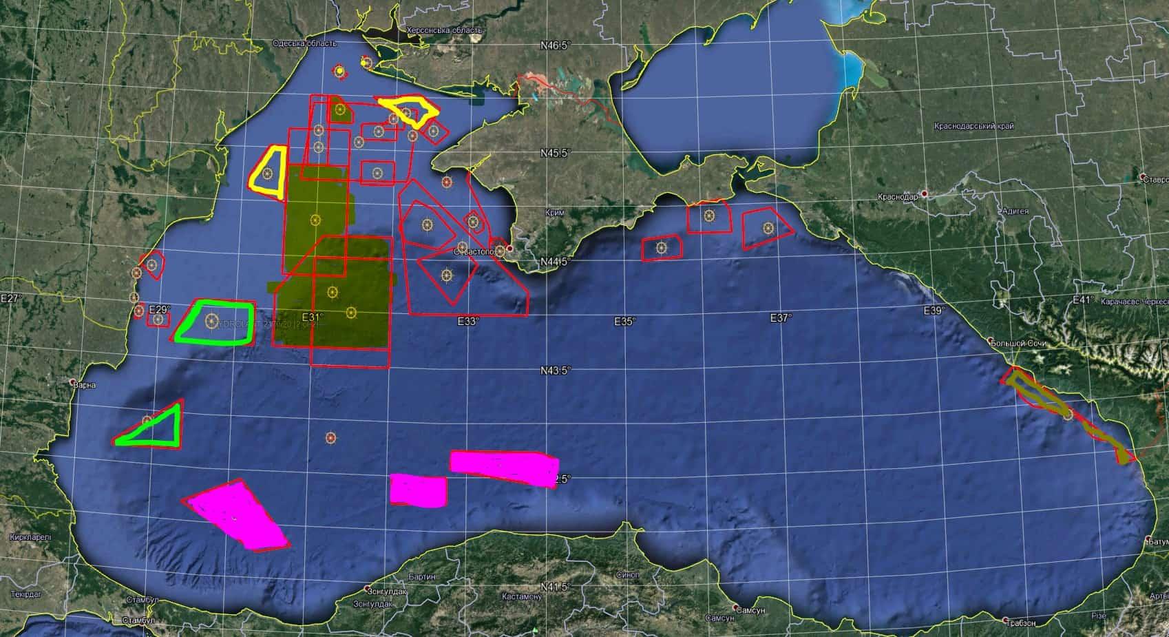 Закриті райони Чорного моря у липні 2020 року під час проведення навчань Sea Breeze 2020