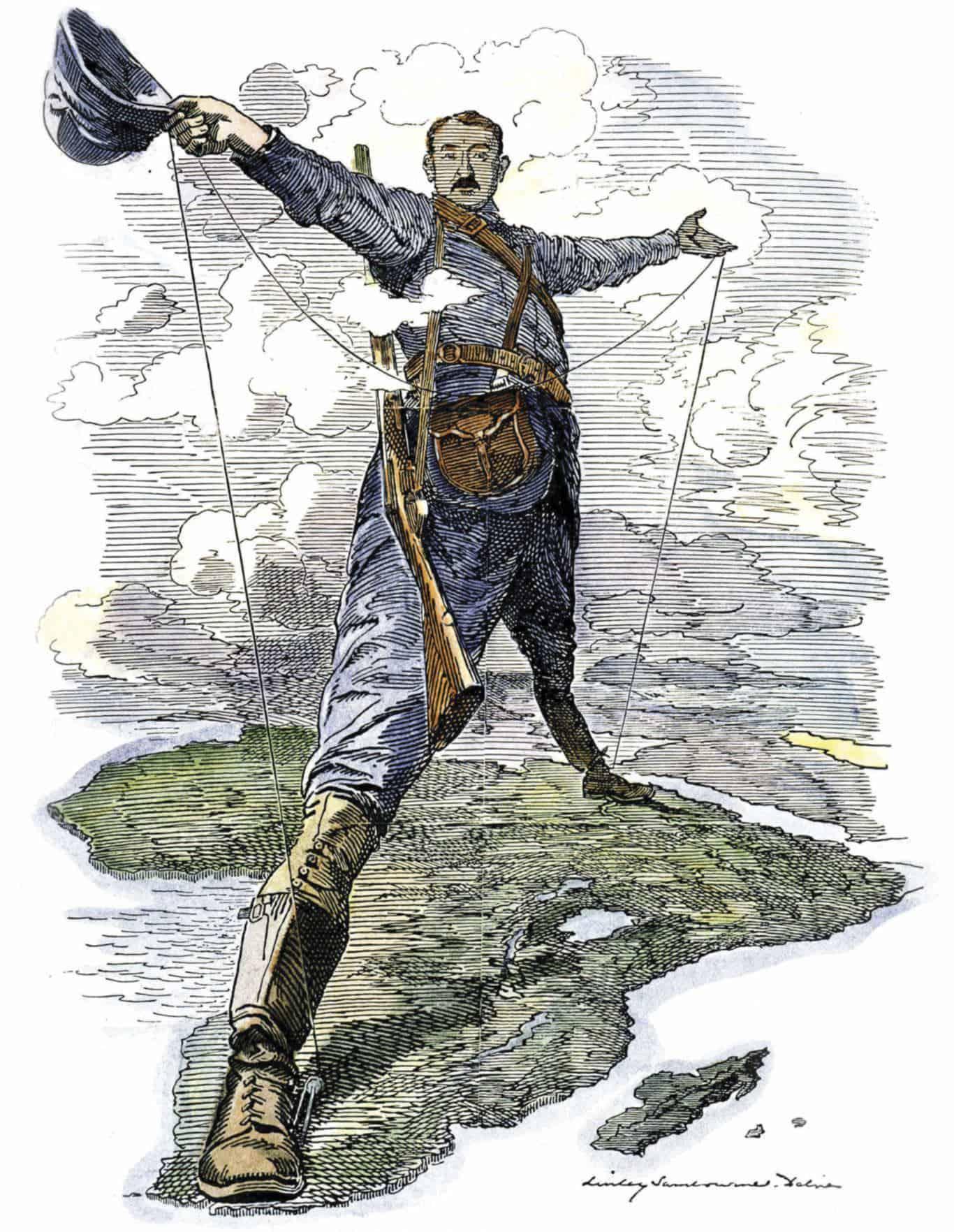 Зображення 1. Колос Родса. Карикатура в журналі Punch, 1892 рік. Джерело: wikipedia.org.