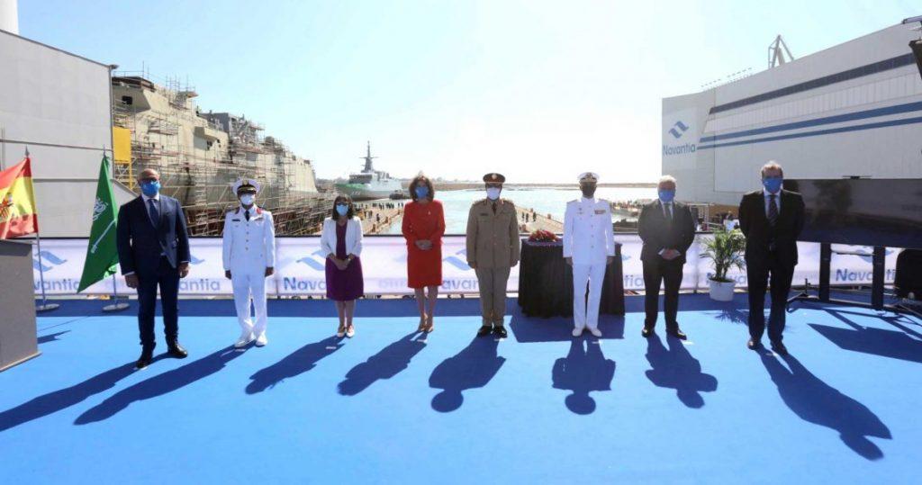Церемонія спуску на воду корвета класу «Avante-2200» для Саудівської Аравії. Липень 2020. Фото: ЗМІ Іспанії