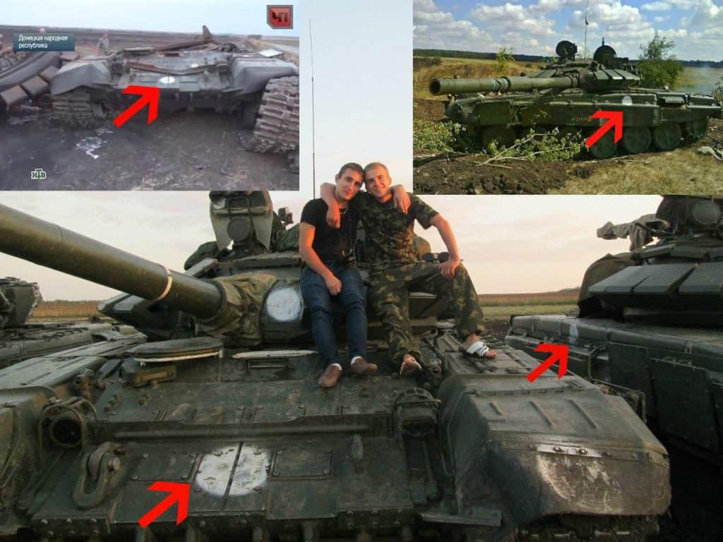 Білі кола на танках російської армії моделі Т-72Б3