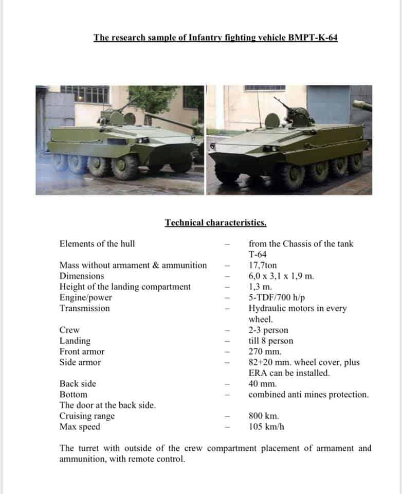 Технічні характеристики БТР-64К