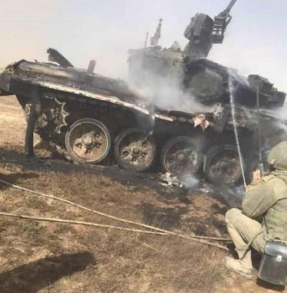 Підбитий Т-90А ЗС РФ на навчаннях. Фото: ЗМІ РФ