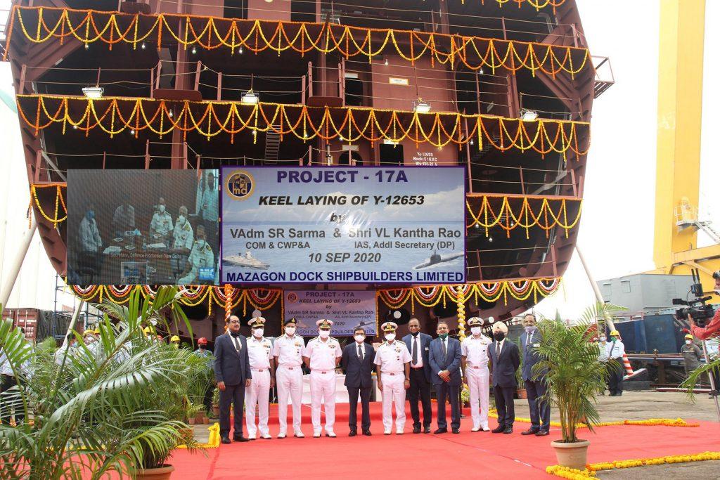 Закладено кіль третього фрегата проєкту «Project 17A» (P-17A). Вересень 2020. Фото: ЗМІ Індії