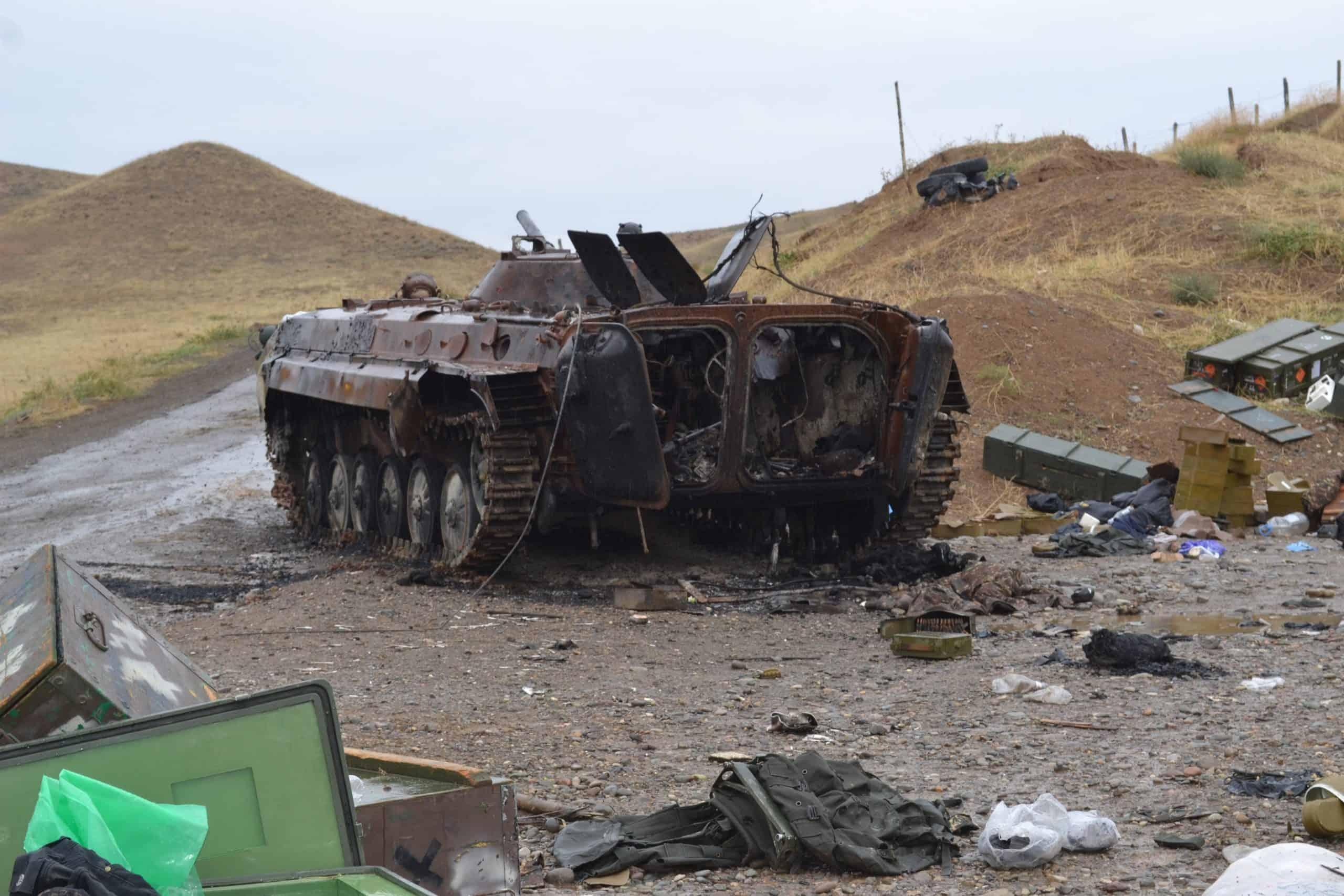 Знищена ударним БПЛА БМП-1 Вірменії у боях за Нагірний Карабах. Фото: МО Азербайджану