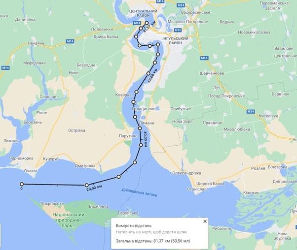 Відстань від Чорного моря до Миколаєва