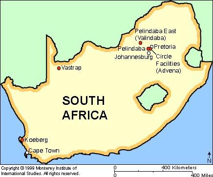 Мапа ядерних об'єктів Південної Африки (Об'єкт Валіндаба зображено некоректно). Джерело: nonproliferation.org