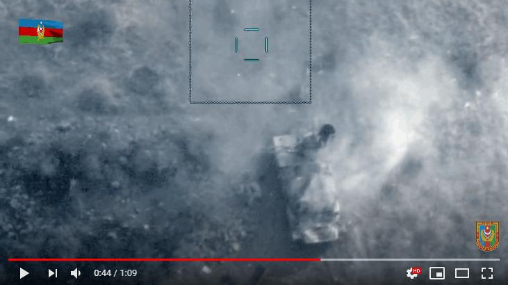 Удар з БПЛА Bayraktar TB2 по МТЛБ зі встановленою ЗСУ M55