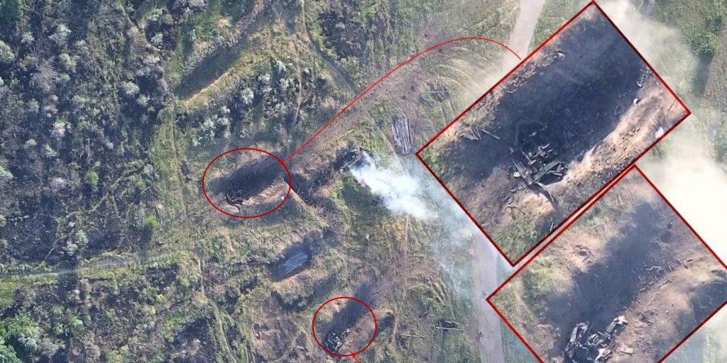 Знищені САУ окупантів в Горлівці. Фото: Роман Донік
