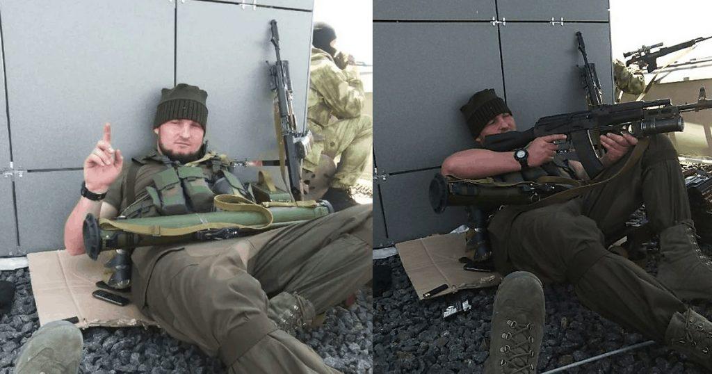 Боевики кавказкой национальности на крыше Донецкого аэропорта 26 мая 2014 года