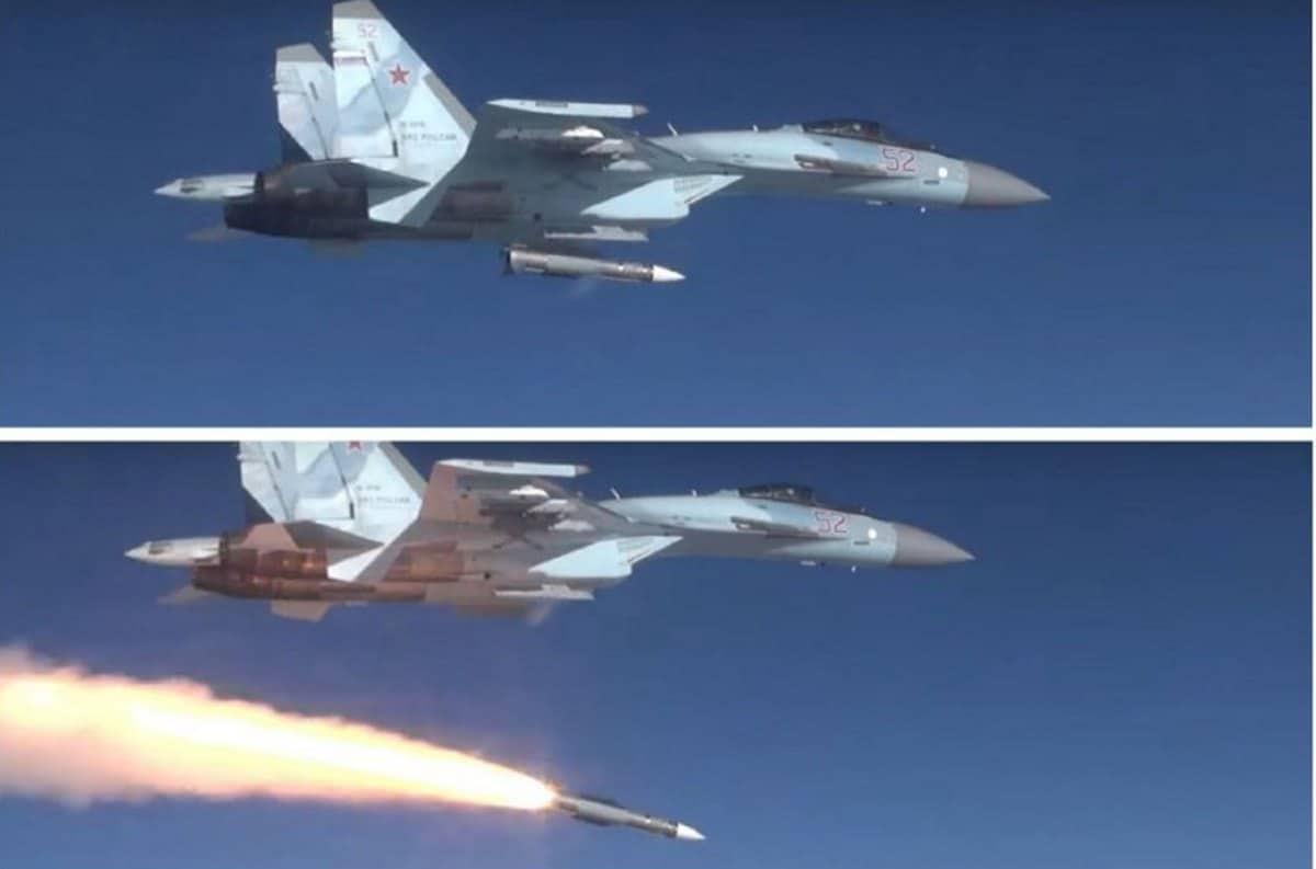 Випробувальний пуск з винищувача Су-35С керованої ракети класу «повітря-повітря» великої дальності Р-37М. Фото: МО РФ