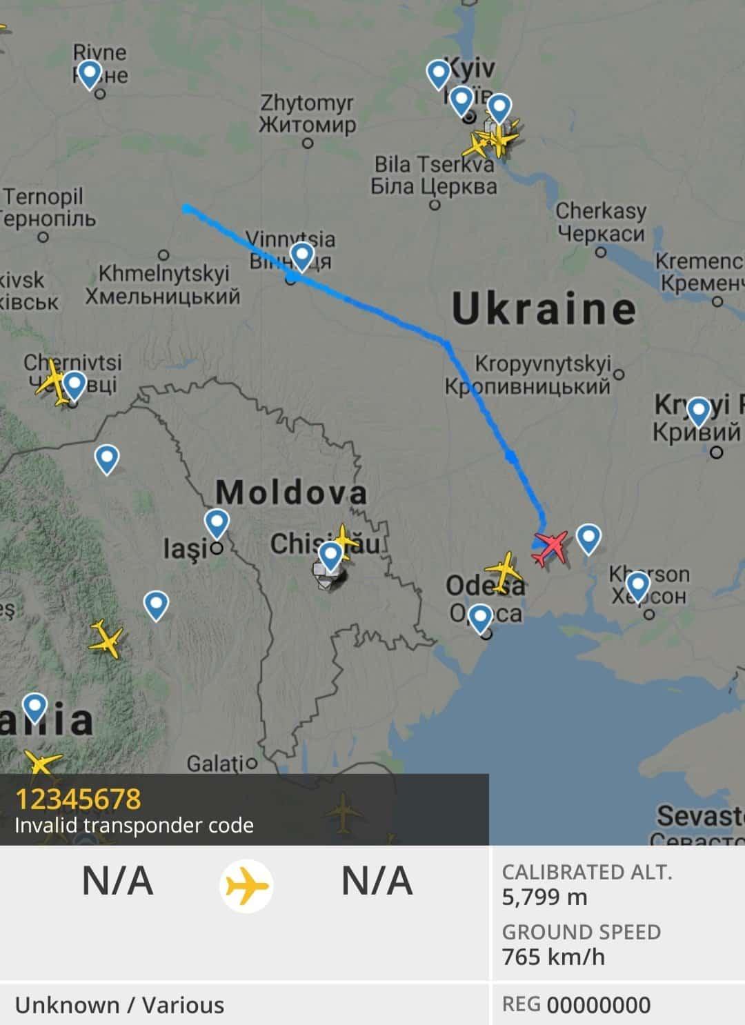 Маршрут перельоту Bayraktar TB2 з Хмельницької області до Миколаївської