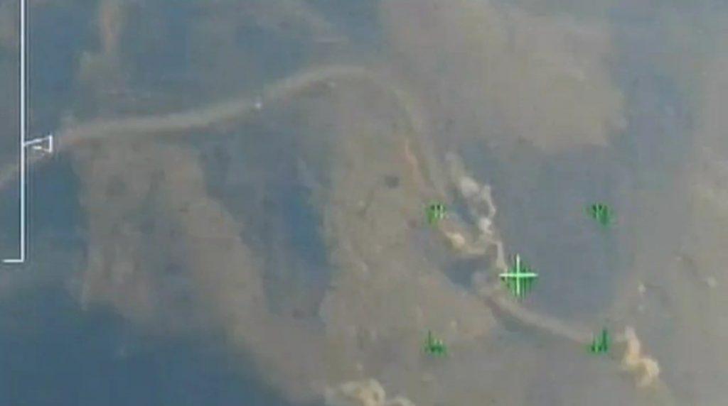 Стопкадр відео від «міністерства оборони Арцаху» на моменті артилерійського удару